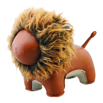 Lion Lino Bookend - Tan & Brown
