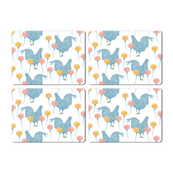 Chicken & Carnation Placemats - Set of 4