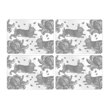 Rabbit & Cabbage Placemats - Gray - Set of 4