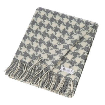 Houndstooth Merino Lambswool Throw - Gray
