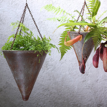 Abari Tapered Hanging Planter - Aged Zinc