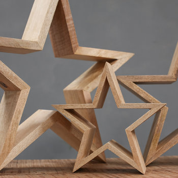 Chana Mango Wood Decorative Star - Natural