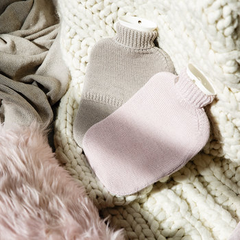 Frost Knitted Hot Water Bottle - Pale Pink