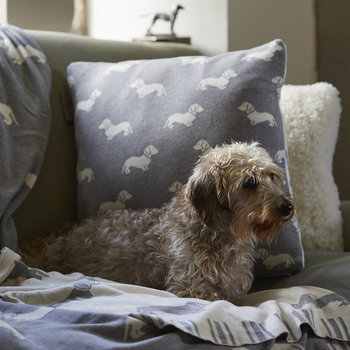 Knitted Dachshund Throw - Gray