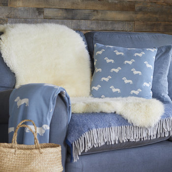 Knitted Dachshund Throw - Blue