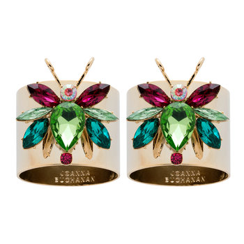 Rainbow Bug Peridot Napkin Rings - Set of 2