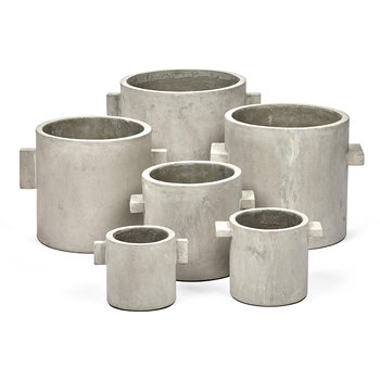 Concrete Round Pot - Grey