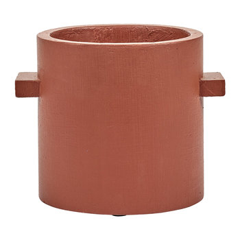 Concrete Round Pot - Red/Brown