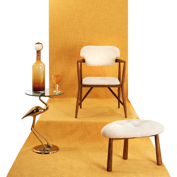Gold Plated Crane Side Table - Matt Finish