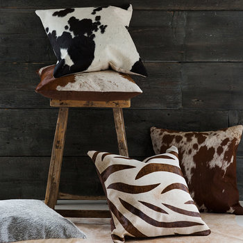 Large Speckling Cowhide Cushion - 45x45cm - Tan/White