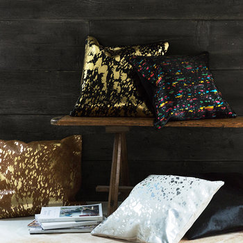 Metallic Acid Cowhide Cushion - 45x45cm - Natural/Gold