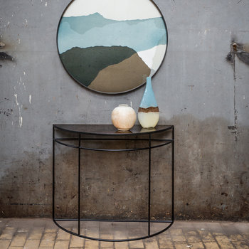 Half Moon Heavy Aged Console - Bronze Copper Leaf