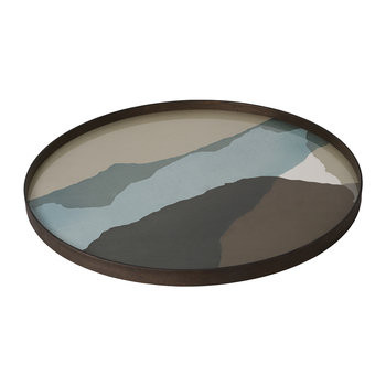 Graphite Wabi Sabi Glass Tray - Round