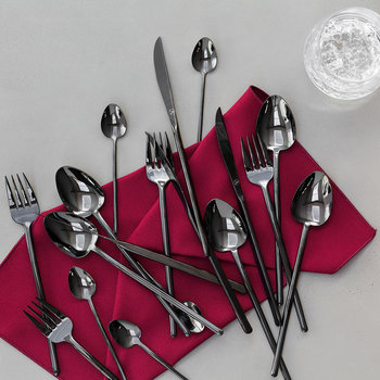 Broadway Shiny Black Cutlery Set - 24 Piece