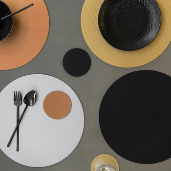 Round Leather Placemat - Gold