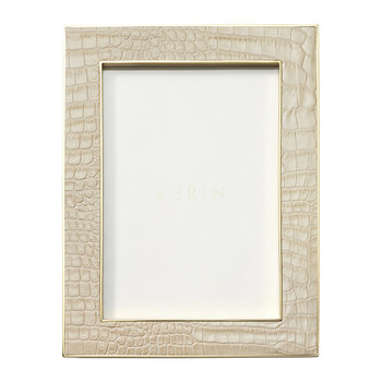 Classic Croc Leather Photo Frame - Fawn