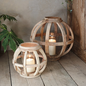 Kabu Wooden Lantern - Mango Wood - Small