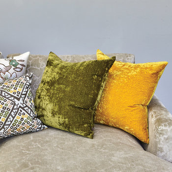Paddy Velvet Cushion - 50x50cm - Mustard