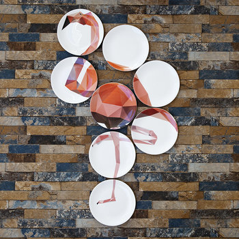 Flamingo 8 Plate Wall Art Installation