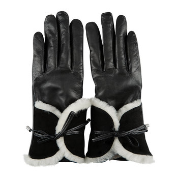 Women's Combo Sheepskin Trim Gloves - Black