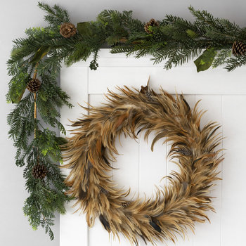 Feather Wreath - Brown
