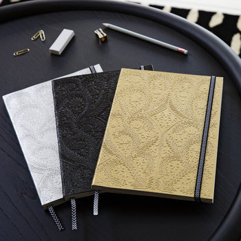 Paseo Embossed B5 Notebook - Silver
