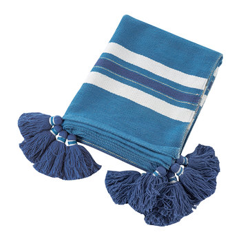 Thick Stripe Tassel Throw - 130x170cm - Blue