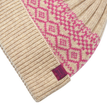 Elsa Fairisle Knitted Bobble Hat - Cream
