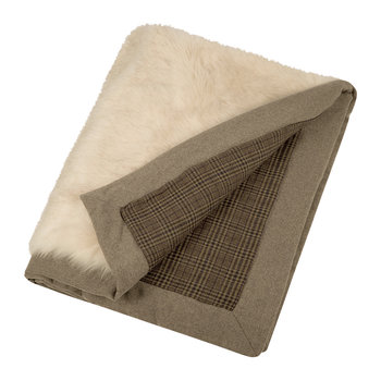 Hesdin Reversible Faux Fur Throw - Beige