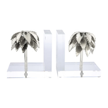 Palm Tree Bookends - Set of 2 - Shiny Nickel