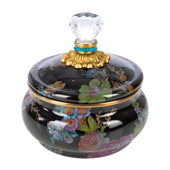 Flower Market Squashed Pot - Black