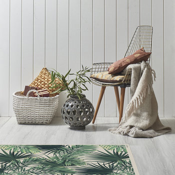 Jungle Vinyl Floor Mat - Beige/Green - 99x150cm