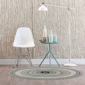 Cyclades Striped Rings Round Vinyl Floor Mat - Black/White