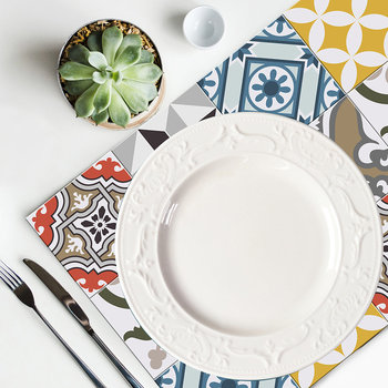 Large Tiles Vinyl Placemat - Multi - Multi