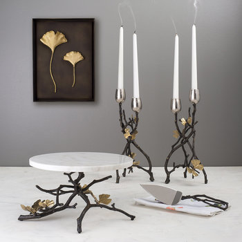 Butterfly Ginkgo Candle Holders - Set of 2