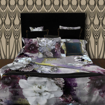 Dark Flower Silk Throw - Fuchsia