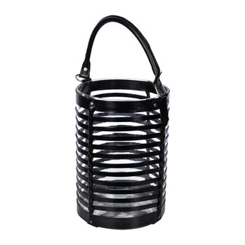 Leather Caged Glass Hurricane - Black