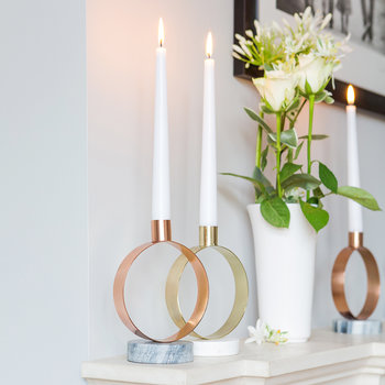 Round Candle Holder - White Marble & Brass