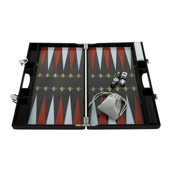 Lacquered Backgammon Set - Red/Gold Bee
