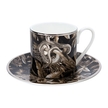 Tropical Jungle Espresso Cup & Saucer - Black
