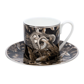 Tropical Jungle Espresso Cup & Saucer Luxury Gift Set - Set of 2 - Black