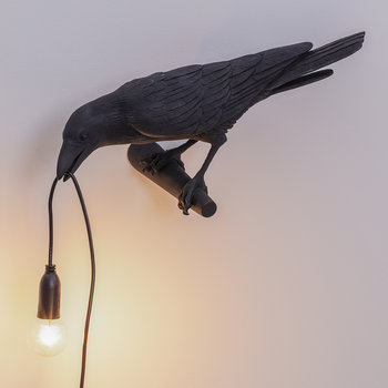 Bird Wall Lamp - Looking - Black
