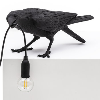 Bird Table Lamp - Playing - Black