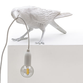 Bird Table Lamp - Playing - White