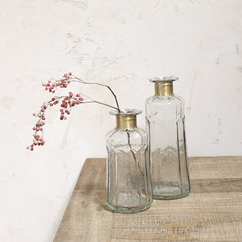 Chara Hammered Decorative Bottle - Clear/Antique Brass