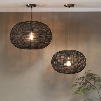 Noko Round Wicker Pendant Light - Black