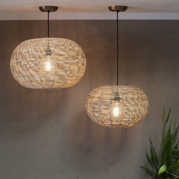 Noko Round Wicker Pendant Light - Natural