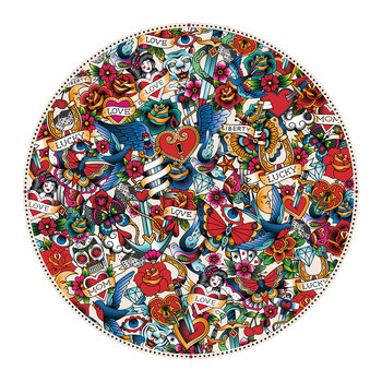 Tattoo Round Vinyl Floor Mat - Multi