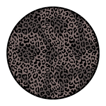 Native Tribe Leopard Round Vinyl Floor Mat - Brown