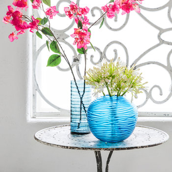 Rope Effect Glass Vase - Midnight Blue